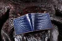 Handmade Genuine Alligator Crocodile Leather Skin Men Bifold Wallet Blue