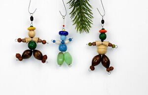 3 Vintage Christmas ornament,figurines made of glass beads and wooden beads.