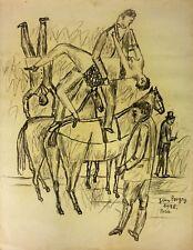SPECTACLE DE CIRQUE. DESSIN. FUSAIN SUR PAPIER. SIGNÉ JEAN POUGNY. FRANCIA.1928