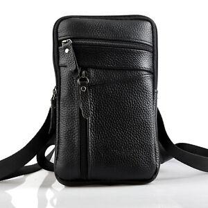 Men Leather Fashion Phone Pouch Belt Bag Shoulder Crossbody Waist Pack Handbag