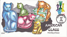 Collins Hand Painted First Day Cover Fdc 1999 American Glass Cat Designs Pets An