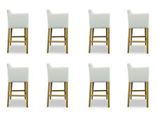 Modern BAR Stool Set 8x Chairs Complete Leather Chair Leather Set