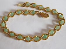 "AVON signed gold tone chain FAUX JADE bead tennis bracelet 8"" EUC"