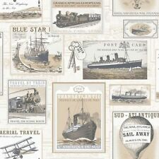 Galerie Memories 2 G56145 Beige Grey Old Transport Planes Boats Trains Wallpaper