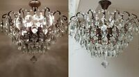 Matching Pair of Antique Vintage Brass & Crystals Low Ceiling HUGE Chandeliers