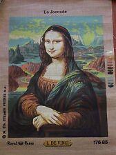 "Vintage Royal Paris Needlepoint Canvas La Joconde  MONA LISA 18.5"" x 14.5"""