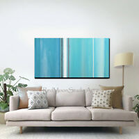 48x24 Abstract Art - Painting Turquoise Blue Aqua Beach Coastal - US Artist