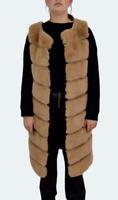 Beige Faux Fur Long Gilet Sleeveless Waistcoat Size S -M UK 10 - 12