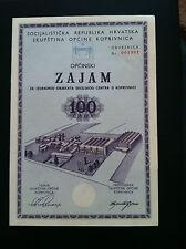 EXTRA RARRE-YUGOSLAVIA- CROATIA- 100 DINARA 1971-1973 -Municipal loan !!!
