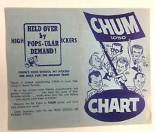 1961 Chum Chart Advertising Hit Parade & Past Tens High School Hit Pickers