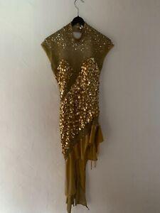 Turnierkleid, Lateinkleid, Gr. 36, gold mit Pailletten und Strass Tanzsport