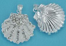 5x Rhinestone Crystal Silver Tone Shell Pendants Charms Diamante Embelishment