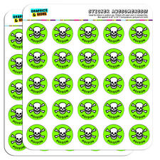 """Poison Skull And Crossbones 1"""" Scrapbooking Crafting Stickers"""