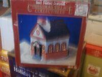 "Porcelain Hand Painted Christmas Church Tea Light Candle Holder 6.5"""