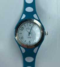 E Kim Rogers Turquoise Blue Polka Dot Silicone Ladies Watch Working