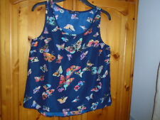 Navy blue / multi butterfly print silky feel sleeveless top, ATMOSPHERE, size 12