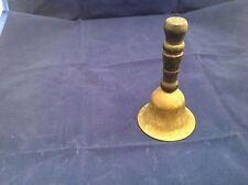 "Vintage Brass Bell W/ Black Wood Handle 4"" tall Patina"