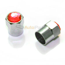2 Red Diamond Crystals Bling Tire/Wheel Air Stem Valve Caps for Motorcycle-Bike