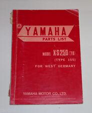 Ersatzteilliste / Spare Parts List Yamaha XS 250 / XS250 '78 Stand 04/1978