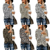 Women O-Neck Long Sleeve Pullover Tops Ladies Leopard Print Blouse Loose T Shirt