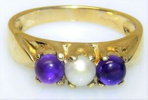 9CT GOLD AMETHYST  PEARL RING CABOCHON 9 CARAT YELLOW GOLD 3 STONE  RING