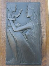Australian artist Michael Meszaros (1945-) Mother and Child bronze plaque