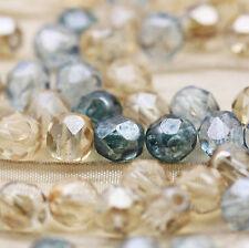 50pcs  6mm Fancy Beach Glass Mix Faceted Round FP Czech glass beads