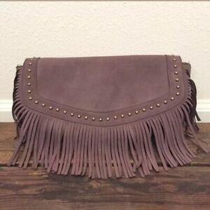 GHD BOHO brown hear resistant tassel Clutch bag