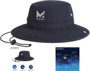 Cooling Bucket Hat Wide Brim Lightweight Portable Cools When Wet Polyester Navy