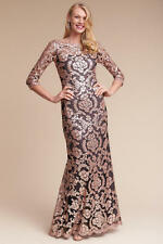 Anthropologie BHLDN Yvonne Dress Tadashi Shoji Sz 0 rose gold black sequin Maxi