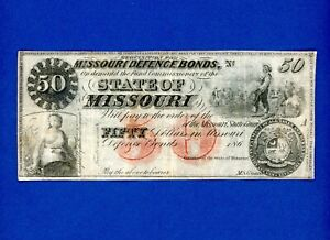 1860's $50 Missouri Defence Bond RARE CIVIL WAR CRISP HIGHER GRADE NOTE.