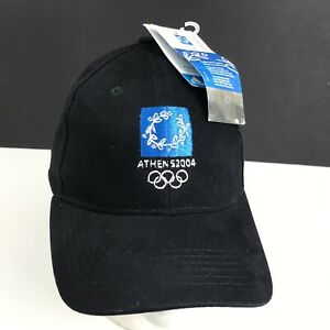 ATHENS 2004 OLYMPIC GAMES GREECE Hat Cap Official Logo Black NEW W/ Tags Adidas