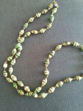 greens/gray/black/orange .made in Uganda Nwot Paper Bead necklace multi colored