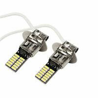 2pcs 12V H3 6500K White 24-SMD 4014 LED Bulb DRL Fog Light Driving Lamp Tools AU