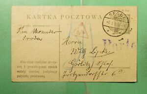 DR WHO 1920 POLAND SRODE POSTAL CARD TO GERMANY WWI CENSORED  g20799