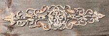 """Vintage Ornamental Painted Chippy Decorative 24-1/2""""  Iron Pediment Trivit EUC"""