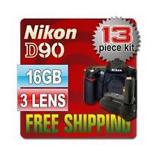 Nikon D90 SLR Camera Body & 16GB 3 Lenses 13PCS