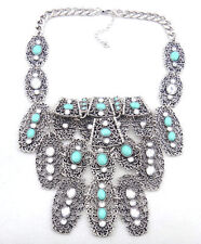 NEUF COLLIER PLASTRON MULTI RANG ARGENTE TURQUOISE ASOS NECKLACE SILVER BLOGGERS