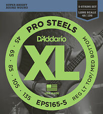 D'ADDARIO EPS165-5 PROSTEEL BASS STRINGS, LIGHT/MEDIUM GAUGE 5's - 45-135