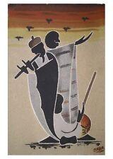 Grand tableau de sable africain du sénégal musiciens les deux griots