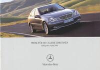 1078MB Mercedes C-Klasse Preisliste 2005 4.4.05 22 Seiten deutsch  price list