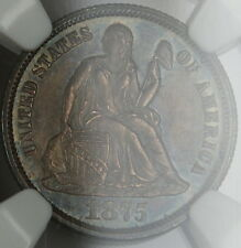 1875-CC Above Bow Seated Liberty Dime, NGC MS-63 Toned, *Gem BU Coin* EGB