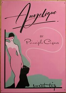 1960s-Elegant Style 'Principle Cigars' Tin Advertising Sign: Angelique - Pink