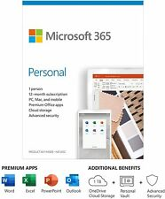 NEW Microsoft 365 Personal 12-Month Subscription 1-User PC Mac Mobile Keycard