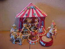 Cherished Teddies Under the Big Top Circus 7 Pieces 1995 Enesco Music Box Clowns