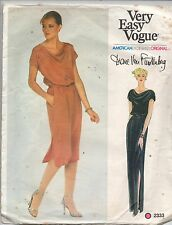 Vogue Sewing Pattern Diane Von Furstenberg Dress Cowl Neckline 2333 Sz 10 Uncut