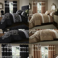 Catherine Lansfield Glamour Jacquard Duvet Quilt Cover Bedding Set Black, Gold