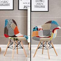 Patchwork Eiffel Chaise de Salle a Manger Salon Chrome Rétro Moda Multicolore