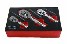 "US.PRO By BERGEN Tools 3Pc Stubby Ratchet Set 1/4"" 3/8"" 1/2"" Drive US PRO 4129"