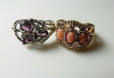 Vtg AVON Faux Coral Ring Size 5.5 ~ Signed Amethyst Purple Flower Ring Size 6